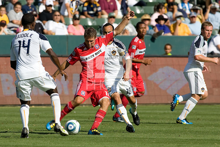 Logan Pause of Chicago Fire sends a ball downfield. The Chicago Fire beat the LA Galaxy 3-2 at Home Depot Center stadium in Carson, California on Sunday August 1, 2010.