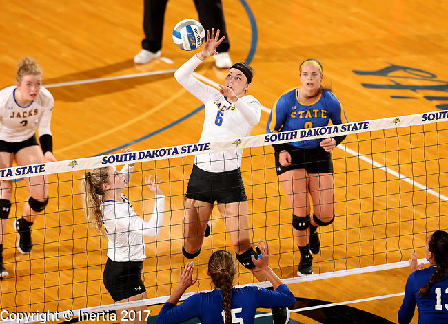 BROOKINGS, SD - SEPTEMBER 1: Macy Smith #6 from South Dakota State University eyes the ball to tip it over the net against CSU Bakersfield during their match Friday night at the Jackrabbit Invitational at Frost Arena in Brookings. (Photo by Dave Eggen/Inertia) (Photo by Dave Eggen/Inertia)