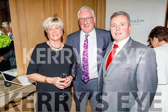 Rosarii and Pat Spillane and Tim Moynihan enjoying the Kerry Supporters Social in the Ballygarry House Hotel on Saturday.