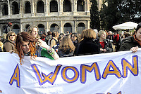 Roma 7 Marzo 2009.Manifestazione di donne contro la violenza maschile in vista dell'8 Marzo giornata internazionale delle donne...Rome, 7 March 2009.Demonstration of women against male violence towards March 8 International Women's Day..