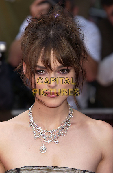 "KEIRA KNIGHTLEY.""King Arthur"" UK Premiere, Leicester Square, London,.15th July 2004..portrait headshot diamond necklace fringe.Ref: PL.www.capitalpictures.com.sales@capitalpictures.com.©Capital Pictures."