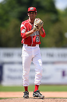 Batavia Muckdogs pitcher James Buckelew (8) poses for a photo after a game against the Lowell Spinners on July 17, 2014 at Dwyer Stadium in Batavia, New York.  Batavia defeated Lowell 4-3.  (Mike Janes/Four Seam Images)