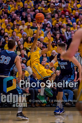 3 March 2018: University of Vermont Guard Trae Bell-Haynes, a Senior from Toronto, Ontario, in first half action of the America East quarterfinals against Maine at Patrick Gymnasium in Burlington, Vermont. The Catamounts defeated the Black Bears 75-60 to move onto the AE semi-finals. Mandatory Credit: Ed Wolfstein Photo *** RAW (NEF) Image File Available ***