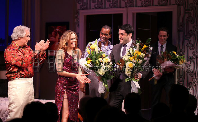 Henry Winkler, Alicia Silverstone, Daniel Breaker with Evan Cabnet & David West Read during the Broadway Opening Night Performance Curtain Call for 'The Performers' at the Longacre Theatre in New York City on 11/14/2012