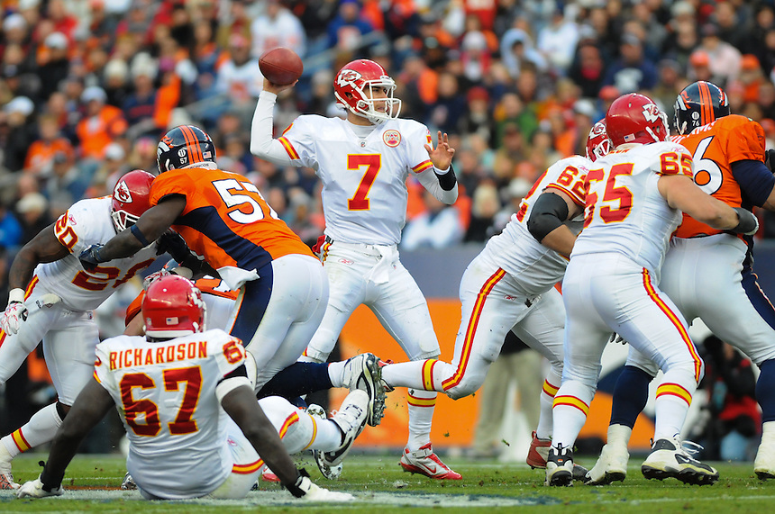 14 NOVEMBER 2010:  Chiefs quarterback Matt Cassel  during a regular season National Football League game between the Kansas City Chiefs and the Denver Broncos at Invesco Field at Mile High in Denver, Colorado. The Broncos beat the Chiefs 49-29.