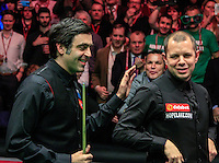 Ronnie O'Sullivan and Barry Hawkins after the Dafabet Masters FINAL between Barry Hawkins and Ronnie O'Sullivan at Alexandra Palace, London, England on 17 January 2016. Photo by Liam Smith / PRiME Media Images