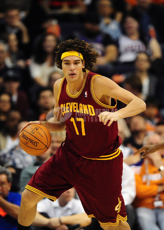 Jan. 12, 2012; Phoenix, AZ, USA; Cleveland Cavaliers center Anderson Varejao during the game against the Phoenix Suns at the US Airways Center. The Cavaliers defeated the Suns 101-90. Mandatory Credit: Mark J. Rebilas-USA TODAY Sports