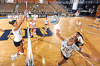 24 September 2010:  FIU's Una Trkulja (7) runs through pre-match drills with the rest of the team.  The FIU Golden Panthers defeated the University of Denver Pioneers, 3-0 (29-27, 25-16, 25-20), at U.S Century Bank Arena in Miami, Florida.