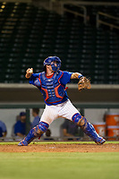 AZL Cubs catcher Marcus Mastrobuoni (5) makes a throw to second base against the AZL Diamondbacks on August 11, 2017 at Sloan Park in Mesa, Arizona. AZL Cubs defeated the AZL Diamondbacks 7-3. (Zachary Lucy/Four Seam Images)