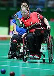 Rio de Janeiro-14/9/2016- Canadian boccia player Alison Levine competes at the Carioca Arena during the 2016 Paralympic Games in Rio. Photo Scott Grant/Canadian Paralympic Committee