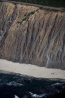 aerial view above eroding cliffs Pacific coast San Mateo California