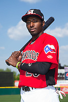 Hickory Crawdads second baseman Travis Demeritte (25) poses for a photo prior to the game against the Greensboro Grasshoppers at L.P. Frans Stadium on May 6, 2015 in Hickory, North Carolina.  The Crawdads defeated the Grasshoppers 1-0.  (Brian Westerholt/Four Seam Images)