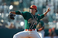 Greensboro Grasshoppers starting pitcher Sean Guenther (14) in action against the West Virginia Power at First National Bank Field on August 9, 2018 in Greensboro, North Carolina. The Power defeated the Grasshoppers 5-3 in game one of a double-header. (Brian Westerholt/Four Seam Images)