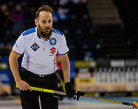 Glasgow. SCOTLAND.  Italian, Skip, Joel RETORNAZ, during the &quot;Round Robin&quot; Game.  Scotland vs Italy at the Le Gruy&egrave;re European Curling Championships. 2016 Venue, Braehead  Scotland<br /> Wednesday  23/11/2016<br /> <br /> [Mandatory Credit; Peter Spurrier/Intersport-images]