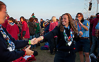 Happy, dancing girls. Photo: Malin Serner/SCOUTERNA