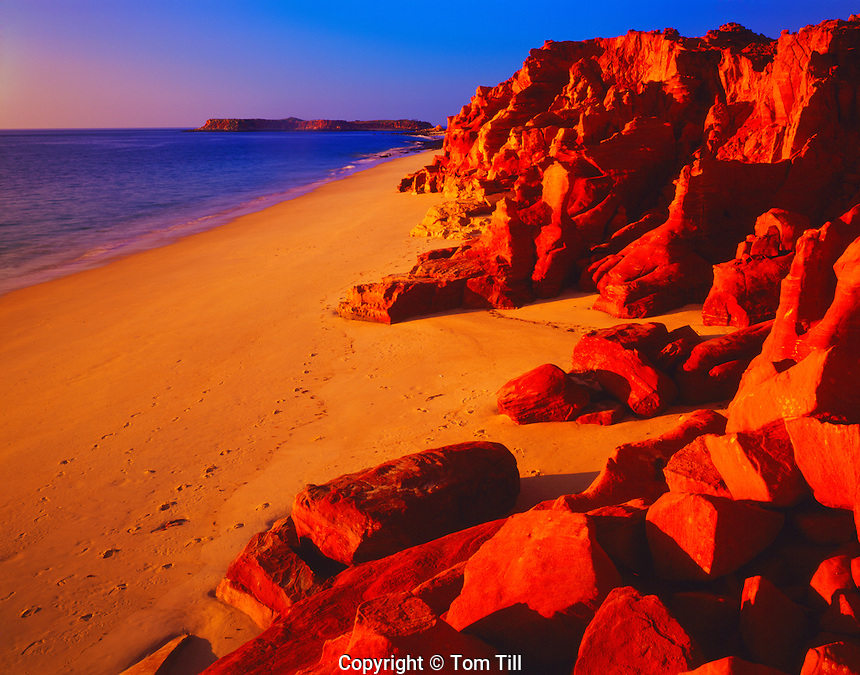 Redrocks and Beach at Sunset, Cape Leveque, KImberley Region, Western Australia
