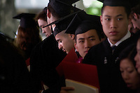 Nick Culbertson, of Dunhellen, New Jersey, sits with fellow graduates after receiving his diploma at the Quincy House ceremony during Harvard University Commencement on May 26, 2011, in Cambridge, Massachusetts, USA.<br /> <br /> Photo: M. Scott Brauer for the Star-Ledger