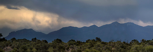 Dark clouds pass over the Henry Mountains near Capitol Reef National Park, Utah