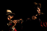 Musicians perform during the Yawar Fiesta in the town of Coyllurqui in the Peruvian Andes on Independence Day.