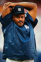 Cecil Fielder of the New York Yankees at Anaheim Stadium in Anaheim,California during the 1996 season. (Larry Goren/Four Seam Images)