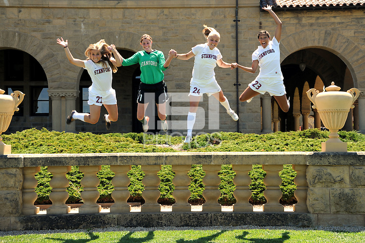 STANFORD, CA - AUGUST 9: Allison McCann, Kira Maker, Morgan Redman, and Christen Press during picture day on August 9, 2010 in Stanford, California.