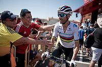 stage 7 wçinner & World Champion Alejandro Valverde (ESP/Movistar) at the start of stage 8<br /> <br /> Stage 8: Valls to Igualada (167km)<br /> La Vuelta 2019<br /> <br /> ©kramon