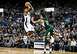 January 14, 2012:   Nevada Wolf Pack guard Deonte Burton sinks a three point jump shot with 2:07 left in the game to give the Nevada a 73-70 lead against the Hawai'i Rainbow Warriors during their NCAA basketball game played at Lawlor Events Center on Saturday night in Reno, Nevada.