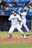 Asheville Tourists first baseman Sean Bouchard (13) runs to first base during a game against the Rome Braves at McCormick Field on April 17, 2018 in Asheville, North Carolina. The Tourists defeated the Braves 1-0. (Tony Farlow/Four Seam Images)