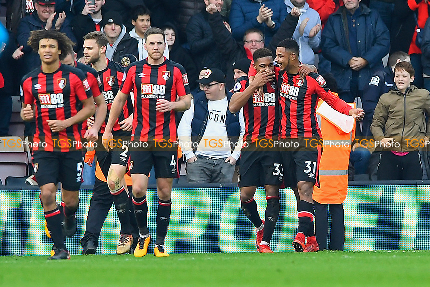 Jordon Ibe of AFC Bournemouth celebrates scoring the second goal with Lys Mousset of AFC Bournemouth (r) during AFC Bournemouth vs Arsenal, Premier League Football at the Vitality Stadium on 14th January 2018