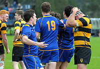 Taranaki captain Bradley Slater (right) reacts to the final whistle of the Jock Hobbs Memorial Under-19 Tournament rugby match between Taranaki and Otago at Owen Delany Park in Taupo, New Zealand on Saturday, 16 September 2012. Photo: Dave Lintott / lintottphoto.co.nz