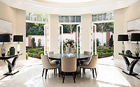BNPS.co.uk (01202 558833)<br /> Pic: Savills/BNPS<br /> <br /> Second Dining room.<br /> <br /> Fairway to Heaven - Hills End has been described as 'a fabulous new masterpiece'. <br /> <br /> This breathtaking brand new mansion only a pitching wedge from one the most exclusive golf clubs in the country has emerged for sale for a whopping £22m.<br /> <br /> Hills End nestles within the prestigious Sunningdale estate in Surrey, home of the £4,000 a year Sunningdale Golf Club which dates back to 1900 and has hosted the Women's British Open and the Senior Open Championship.<br /> <br /> The newly-built property sits on a 1.75 acre plot  boasting six bedrooms, eight reception areas, a swimming pool complex with spa, sauna and yoga rooms along with a large cinema. and walk in wardrobes.<br /> <br /> The incredible Palladian style home is on the market with estate agents Savills who describe it as 'a fabulous new masterpiece'...that comes with a whopping £22 million price tag.