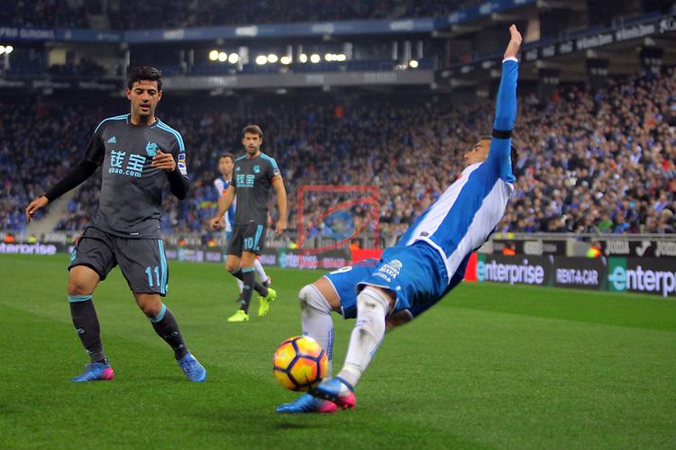 League Santander 2016/2017. Game: 22.<br /> RCD Espanyol vs Real Sociedad: 1-2.<br /> Jose Antonio Reyes vs Carlos Vela.