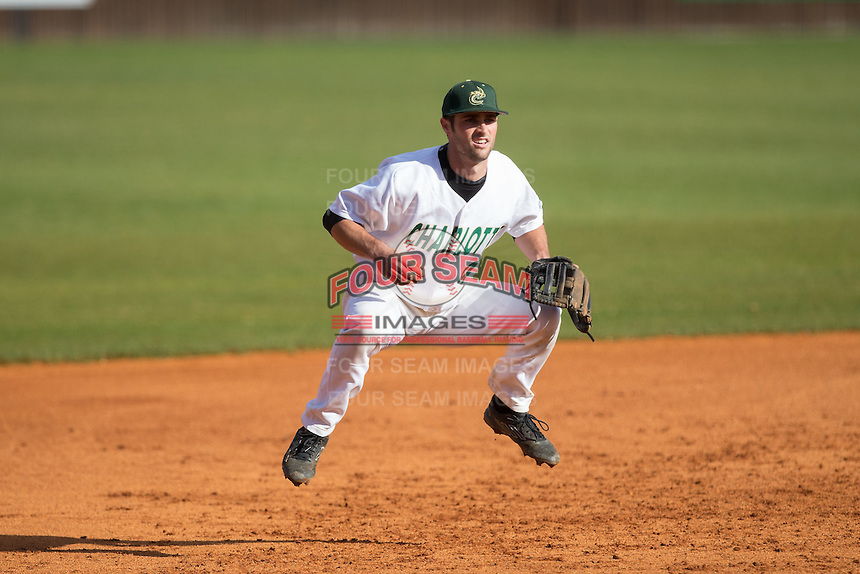 Charlotte 49ers third baseman Derek Gallello (41) on defense against the Florida Atlantic Owls at Hayes Stadium on March 14, 2015 in Charlotte, North Carolina.  The Owls defeated the 49ers 8-3 in game one of a double header.  (Brian Westerholt/Four Seam Images)