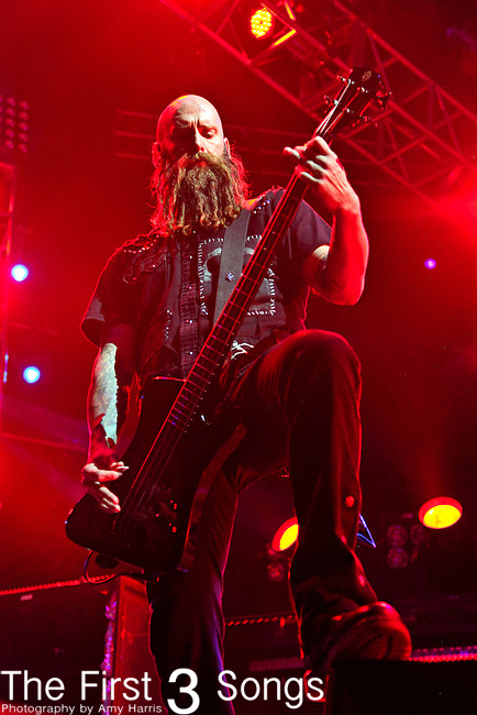 Chris Kael of Five Finger Death Punch perform during the Trespass America Festival at Jacobs Pavilion at Nautica in Cleveland, Ohio.