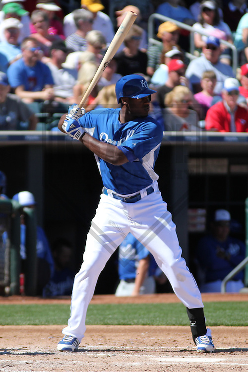 SURPRISE - March 2013: Lorenzo Cain (6) of the Kansas City Royals during a Spring Training game against the Los Angeles Angels of Anaheim on March 10, 2013 at Surprise Stadium in Surprise, Arizona. (Photo by Brad Krause). ...