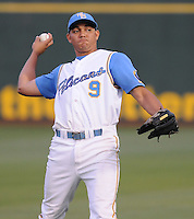 July 11, 2008: Outfielder Concepcion Rodriguez (9) of the Myrtle Beach Pelicans, Class A affiliate of the Atlanta Braves, in a game against the Salem Avalanche at BB&T Coastal Field in Myrtle Beach, S.C. Photo by:  Tom Priddy/Four Seam Image