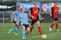 Piscataway, NJ, Saturday May 7, 2016. Sky Blue FC midfielder Nikki Stanton (7) passes the ball away from Western New York Flash defender Alanna Kennedy (8). The Western New York Flash defeated Sky Blue FC, 2-1, in a National Women's Soccer League (NWSL) match at Yurcak Field.