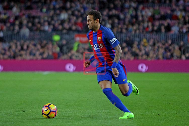 League Santander 2016/2017. Game: 25.<br /> FC Barcelona vs Real Sporting SAD: 6-1.<br /> Neymar Jr.