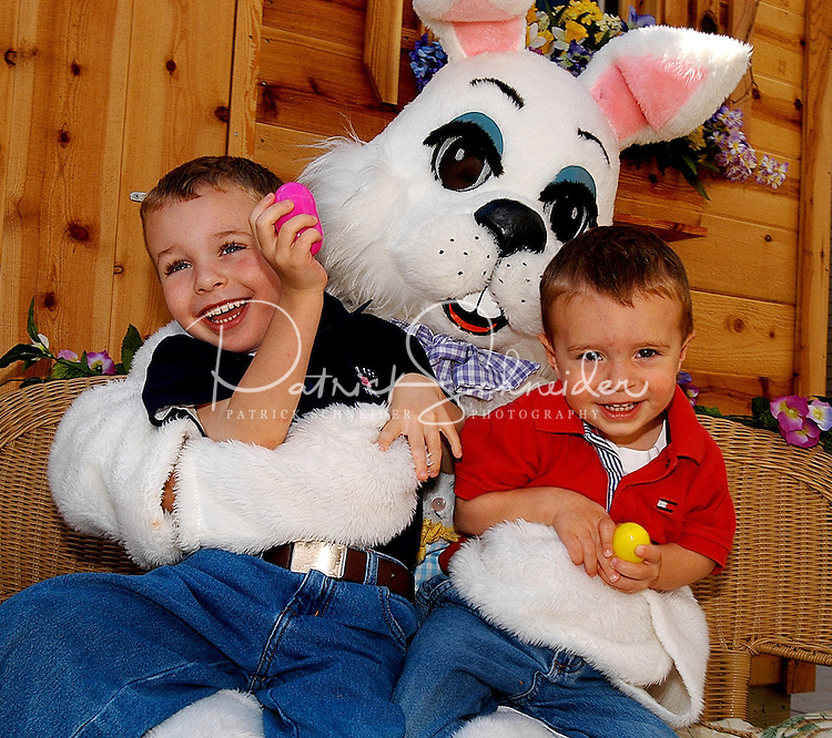 Brothers laugh as they sit with the Easter Bunny at Birkdale Village in Huntersville, NC. Birkdale Village combines the best of shopping, dining, apartments and entertainment venues within a 52-acre mixed-use development.