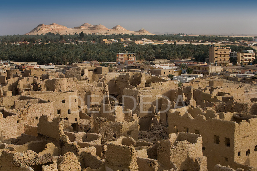The 13th century mud-brick fortress of Shali meets modern Siwa Town in the Siwa Oasis, near the Libyan border in Egypt.