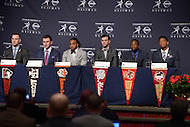 The 2013 Heisman Trophy finalists speak with the media at the New York Marriott Marquis before the announcement of the winner. (L-R) Jordan Lynch, Johnny Manziel, Tre Mason, AJ McCarron, Andre Williams, Jameis Winston.  (Photo by Don Baxter/Media Images International)