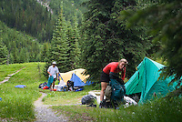 Kootenay National Park, British Columbia, Canada, July 2008. Campers prepare for a rainy night inTumbling Creek Campsite. The Rockwall trail offers an exhilarating multiple day hike in the Rocky Mountains. Photo by Frits Meyst/Adventure4ever.com