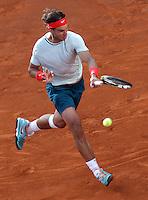 Lo spagnolo Rafael Nadal in azione durante gli Internazionali d'Italia di tennis a Roma, 18 Maggio 2013..Spain's Rafael Nadal in action during the Italian Open Tennis tournament ATP Master 1000 in Rome, 18 May 2013.UPDATE IMAGES PRESS/Riccardo De Luca