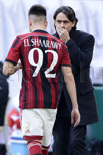 18.01.2015. Milan, Italy. Serie A football league. AC Milan verus Atalanta.  Filippo Inzaghi spaks with Stephan El Shaarawy Milan