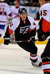 15 November 2008:  Philadelphia Flyers' center Jared Ross warms up prior to a game against the Montreal Canadiens in their first meeting in Montreal since the Flyers knocked the Canadiens out of the playoffs last season. The Canadiens, celebrating their 100th season, fell to the visiting Flyers 2-1 at the Bell Centre in Montreal, Quebec, Canada. ***Editorial Sales Only***..Mandatory Photo Credit: Ed Wolfstein Photo *** Editorial Sales through Icon Sports Media *** www.iconsportsmedia.com