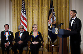 Musician Sonny Rollins (2L) and actress Meryl Streep (2R) listen as United States President Barack Obama (R) jokes about having musician Yo-Yo Ma (L) speak to the US Congress during a Kennedy Center Honors reception in the East Room of the White House, Sunday, December 4, 2011 in Washington, DC.  For their accomplishments and contributions to the arts actress Meryl Streep, singer Neil Diamond, actress Barbara Cook, musician Yo-Yo Ma, and musician Sonny Rollins where etched recognized as this year's recipients of the Kennedy Center Honors..Credit: Brendan Smialowski / Pool via CNP