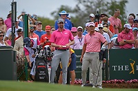 Webb Simpson (USA) and Danny Lee (NZL) look over their tee shot on 1 during round 4 of The Players Championship, TPC Sawgrass, at Ponte Vedra, Florida, USA. 5/13/2018.<br /> Picture: Golffile | Ken Murray<br /> <br /> <br /> All photo usage must carry mandatory copyright credit (&copy; Golffile | Ken Murray)