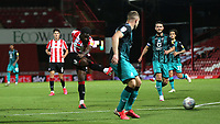 Josh DaSilva of Brentford takes a shot at the Swansea goal during Brentford vs Swansea City, Sky Bet EFL Championship Play-Off Semi-Final 2nd Leg Football at Griffin Park on 29th July 2020