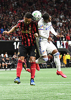 ATLANTA, GA - MARCH 07: ATLANTA, GA - MARCH 07: Atlanta United defender  FAnton Walke and Allan Cruz contest for a header during the match against FC Cincinnati, which Atlanta won, 2-1, in front of a crowd of 69,301 at Mercedes-Benz Stadium during a game between FC Cincinnati and Atlanta United FC at Mercedes-Benz Stadium on March 07, 2020 in Atlanta, Georgia.