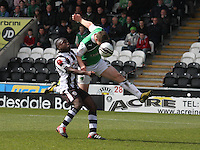 Paul Hanlon heads to beat Nigel Hasselbank in the St Mirren v Hibernian Clydesdale Bank Scottish Premier League match played at St Mirren Park, Paisley on 29.4.12.